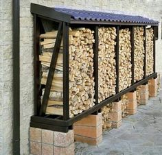 Outdoor Firewood Rack, Firewood Shed, Firewood Storage, Wood Storage Sheds, Garden Tool Storage, Backyard Patio, Backyard Landscaping, Outdoor Fireplace Designs, Outdoor Projects