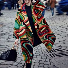 Fashion Turndown Collar Printed Colour Long Sleeve Pocket Coat – linenwe coat outfit casual coat and dress outfit chic coat womens coats casual Modelos Fashion, Neue Outfits, Looks Street Style, Coat Dress, Mode Inspiration, Mode Style, Fashion Outfits, Womens Fashion, Fashion Coat