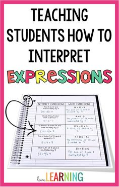 Teaching students how to read, write, and interpret expressions in fifth grade is simple! This unit includes ideas for teaching numerical expressions. Writing Algebraic Expressions, Math Expressions, Teaching Geometry, Teaching Math, Teaching Numbers, Math Lesson Plans, Math Lessons, Fifth Grade Math, Fourth Grade