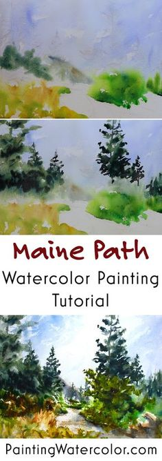 Maine Coast Path Pai Maine Coast Path Painting Tutorial watercolor painting tutorial by Jennifer Branch Watercolor Tips, Watercolour Tutorials, Watercolor Techniques, Watercolour Painting, Watercolor Flowers, Painting & Drawing, Watercolors, Watercolor Landscape Tutorial, Painting Lessons