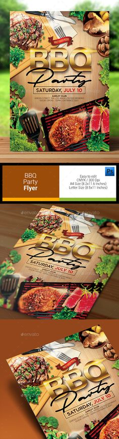 BBQ Party Flyer — Photoshop PSD #restaurant #fast food flyer • Available here → https://graphicriver.net/item/bbq-party-flyer/12369971?ref=pxcr
