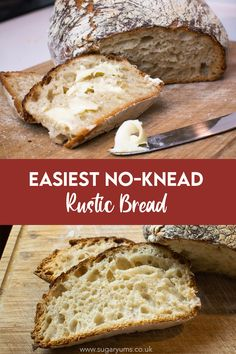 The most delicious no-knead bread recipe for a rustic, crispy crust and a sourdough-like interior. So easy anyone can make it! Uk Recipes, Fall Recipes, Delicious Recipes, Baking Recipes, Yummy Food, Knead Bread Recipe, No Knead Bread, Sourdough Recipes, Bread Recipes