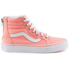 The Vans Classics Zip Kids Shoes in the Desert Flower/True White Colorway combines the legendary Vans lace-up high top with a zipper entry at the heel, sturdy canvas and suede uppers, signature Kid Shoes, Cute Shoes, Vans Shoes, Me Too Shoes, Awesome Shoes, Vestidos Color Salmon, Salmon Color, Heeled Boots, Shoe Boots