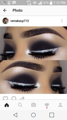 Black smokey eye with silver glitter liner