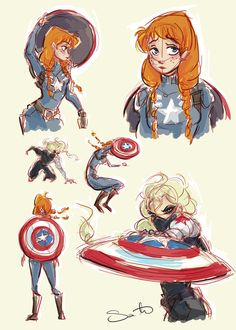 Anna as Captain America (Steve Rogers) and Elsa as The Winter Soldier (Bucky) | Frozen and Marvel | Art: Samantha Dodge