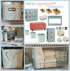 Getting Organized with Kirkland's (Pretty Linen Closet Revamp) LOVE LOVE LOVE the Antiqued BLUE storage chest/night stand!