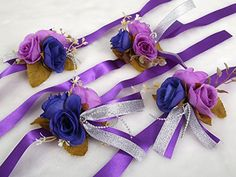 Elegant Corsage Wrist Flower with Wristband for Wedding Bridal Bridesmaid Ceremony Party Decor Value Pack 4 Purple Theme * Find out more about the great product at the image link.