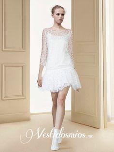 Elegante Vestido de Novia Civil Cubierto por Encaje VW1271 [VW1271] - Mex$6,106