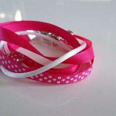 Bracelet enfant 2 tours rubans et coton rose