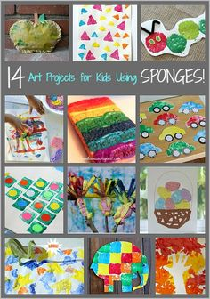 14 Art Projects for Kids Using Sponges- Including rainbow art, tree art, handprint art and more!