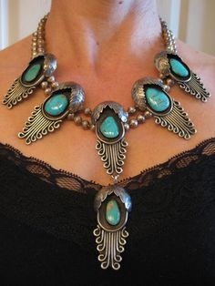 Vintage Navajo Blue Gem Turquoise Sterling Silver Necklace ❤ Please visit my Facebook page at: www.facebook.com/jolly.ollie.77