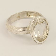 Brush Finishing Ring Size US 9 Natural CRYSTAL QUARTZ Stone 925 Sterling Silver #Unbranded Crystal Ring, Quartz Crystal, Quartz Stone, Natural Crystals, Wedding Rings, Engagement Rings, Sterling Silver, Jewelry, Enagement Rings