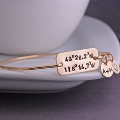 Gold Latitude Longitude Bracelet, Valentine Gift for Wife, Custom Coordinate Jewelry, Personalized Location Jewelr Anniversary Gift for Wife by georgiedesigns on Etsy https://www.etsy.com/listing/225851655/gold-latitude-longitude-bracelet