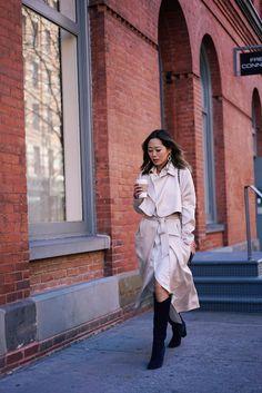 RALPH LAUREN SHIRTDRESS AND TIBI COAT DURING NYFW Song of Style waysify