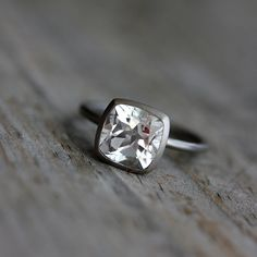 My gosh I want this very bad one day.  White Topaz Cushion Solitaire in 14k Palladium by onegarnetgirl, $748.00