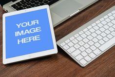 White Ipad On Desk Mockup Template | ShareTemplates