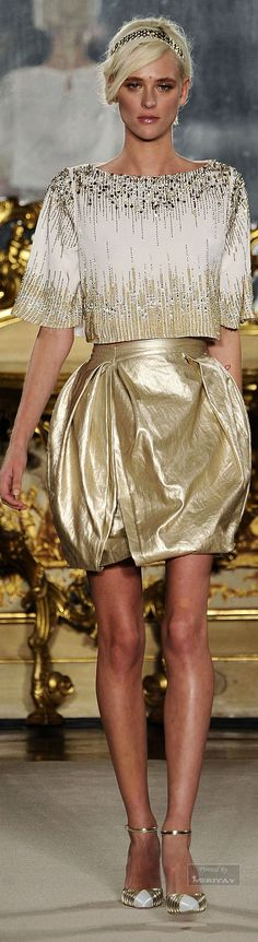 Elisabetta Franchi ~ Gold + Silver Studded Cropped Top w Gold Metallic Mini Skirt, Summer 2015.