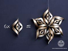 Como fazer estrela twist de papel -  Passo a passo com fotos - How make paper twist stars - DIY tutorial  - Madame Criativa - www.madamecriativa.com.br
