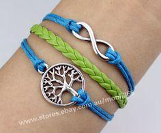 Silvery infinity wishing tree bracelet,blue wax rope green woven  rope jewelry