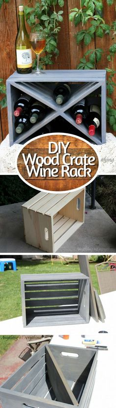 Check out how to make an easy DIY wine rack from a wood crate. #vinoplease #diy #winerack