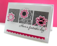 Supplies: Stamps - Papertrey Ink 'Bitty Background Blocks' & 'Flower Fusion #12'; Hero Arts 'Good Friends' / Tools - Papertrey Ink Die 'Flower Fusion #12'; Stampin' Up! Border Punch 'Scallop'