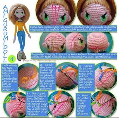 When I'm ready to put hair on my dolls, I have a great picture to look at. This is a good outline for hair placement. Crochet Dolls Free Patterns, Amigurumi Patterns, Amigurumi Doll, Crochet Designs, Doll Patterns, Crochet Toys, Free Crochet, Sewing Toys, Doll Hair