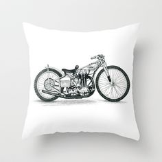 Harley Davidson Motorcycle Board Track Racer Throw Pillow by JT Newman - pen and ink artist - $20.00