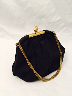 b471685a3d4 Small Black Fabric Purse, Chain Handle, Satin Lining, Mirror And Coin Purse,
