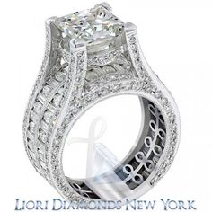 10.54 Carat H-SI2 Certified Princess Cut Diamond Engagement Ring 14K White Gold - Liori Exclusive Engagement Rings - Engagement - Lioridiamonds.com