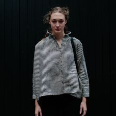 Ichi Antiquites Gather Linen Shirt in Stripes at Rennes