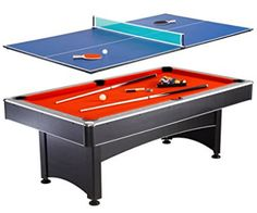 Hathaway Maverick Pool and Table Tennis Multi Game with Red Felt and Blue Table Tennis Surface, Outdoor Pool Tables