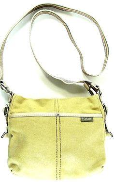 Fossil Women Handbag Leather Trim Canvas Stainless Steel Buckles.  ABA 10 #Fossil #Handbag
