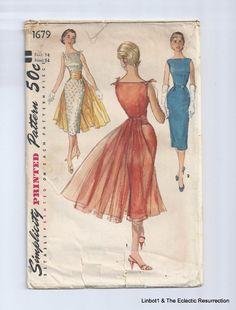 Vintage 1956 Cocktail Dress Pattern Wiggle Simplicity 1679 UNCUT  Bust 34 #Simplicity