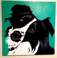 Black and white border collie original art on Etsy, $98.00