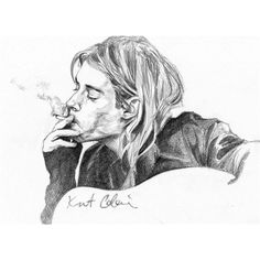 Kurt Cobain Portrait by Melanie - Drawing 67783. ❤ liked on Polyvore