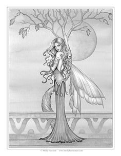 """Free Fairy Coloring Page by Molly Harrison Fantasy Art """"Autumn"""""""