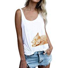 5961240ba6f0 Vetement Femme Pas Cher a la Mode Coton Tee T-Shirt à sans Manches Femmes  Top Sweat Chemise Blanche ado Fille Vest Gilet