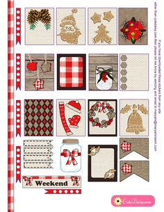 Free Printable Rustic Christmas Stickers for ECLP