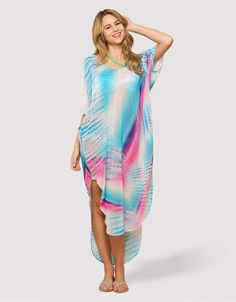 Dreamy Tie Dye Cold Shoulder Long Kaftan - I'd wear this all day!!