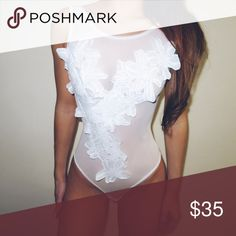 White Floral Mesh Bodysuit Versatile lace bodysuit. Can be worn as lingerie or an edgy going-out top paired with a skirt. The lace flowers cover the nipple area. Available in smalls and mediums, these sizes fit most. ✔️ Intimates & Sleepwear