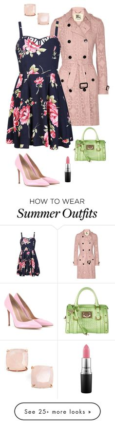"""Outfit#23"" by kpokorny on Polyvore featuring Burberry, Ally Fashion, Gianvito Rossi, Versace, Kate Spade, MAC Cosmetics, women's clothing, women, female and woman"