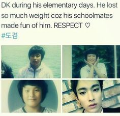 When people do things like that it makes me sad :( DK is really sweet now so I bet he was really sweet as a kid...which means that people were picking on a really nice kid that would've made a good friend. But now he's sings like an angel, is successful, and has 12 new brothers who care about him so basically he won. -@BeautyandthePoet