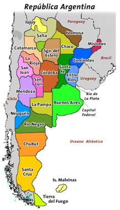 Language: These are the twenty three different provinces in Argentina. Spanish is the official language of Argentina and it is spoken in all provinces, but many different provinces have different accents. Southern Cone, Argentina Food, Argentina Travel, Spanish Speaking Countries, Galapagos Islands, South America Travel, How To Speak Spanish, Latin America, Central America