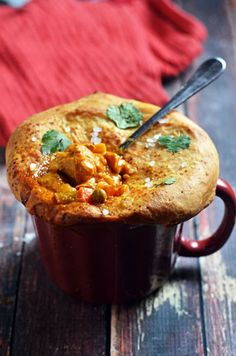 Easy, tasty one-mug meal. Butter Chicken Pot Pie with Naan Crust