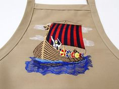 3ee53d44d3e Embroidered Scandinavian Norwegian Viking Ship Apron