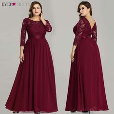 Plus Size Ever Pretty Evening Dresses Long Elegant Long Sleeve A-line Lace Chiffon Navy Blue Winter Wedding Guest Dresse. If You Want to get more ideas just click picture. Evening Dress Long, Evening Dresses Plus Size, Plus Size Dresses, Evening Gowns, Bridesmaid Dresses Plus Size, Burgundy Bridesmaid Dresses, Lace Party Dresses, Lace Dress, Lace Chiffon