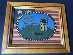Susan Fouts Kline Liberty America Americana USA Stars & Stripes Folk Art Framed
