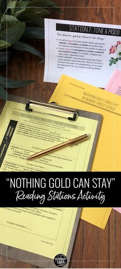 Nothing Gold Can Stay: Reading Stations & Quiz (The Outsiders) Ela Classroom, High School Classroom, English Classroom, English Teachers, Classroom Ideas, Teaching Poetry, Teaching Reading, Teaching Ideas, Education English