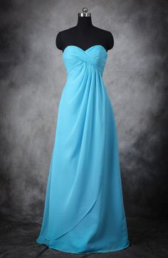 Pleated Empire Wrapped Full Length Bridesmaid Dress