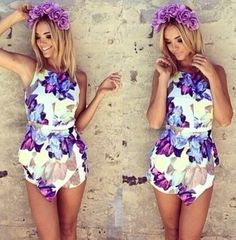 Size XS Halter Neck Sabo Romper Playsuit Lotus Flower Skirt Shorts Playsuit